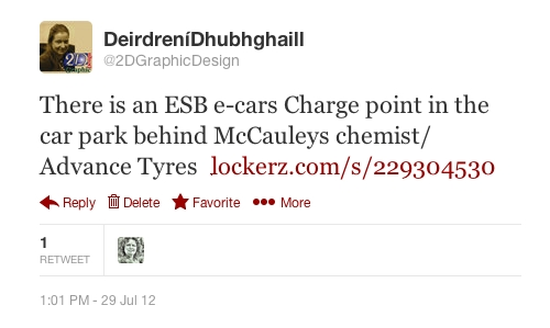 On the 29th of July 2012 I sent a tweet to the there is an ESB e-cars Charge point in the car park behind McCauleys chemist/ Advance Tyres
