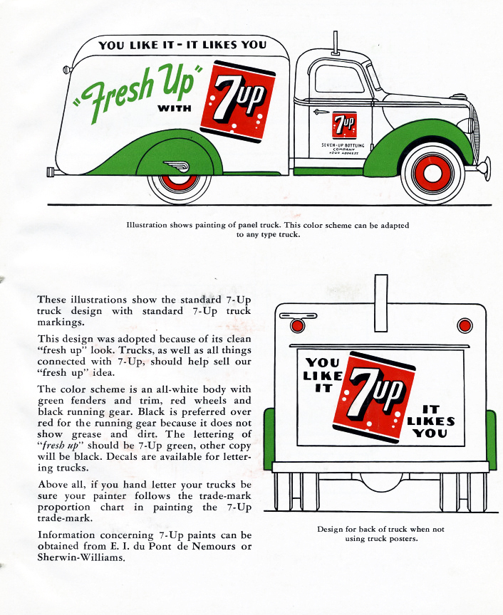 7up advertising layout for a 1938 Ford from their brochure for franchises