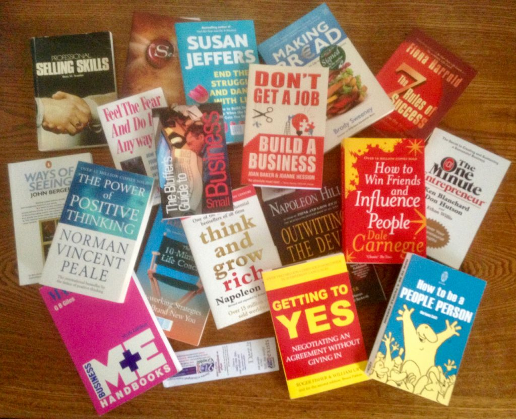 a selection of motivational, educational, inspirational books on business. Brody Sweeny, Napoleon Hill, susan Jeffers, Joanne Hession, Dale Carnegie, Norman Vincent Peale, Fiona Harold