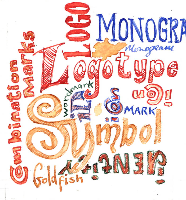 Monogram, Logotype, Icon, Logo, symbol, wordmark, mark, Combination Marks, goldfish. ID