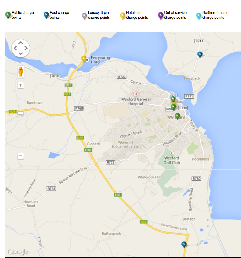 chargepoints wexford town