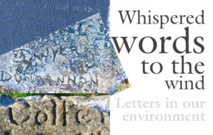 Whispered Words to the wind - Letters in our environment Picture of three simple memorials, type/ lettering in concrete hidden on the rocks at hook Head.